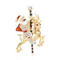 Zinklegierung Brosche, Weihnachtsmann, goldfarben plattiert, Weihnachtsschmuck & für Frau & Emaille & mit Strass, frei von Blei & Kadmium, 35x60mm, verkauft von PC