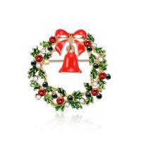 Zinklegierung Brosche, Weihnachtskranz, goldfarben plattiert, Weihnachtsschmuck & für Frau & Emaille & mit Strass, frei von Blei & Kadmium, 37x47mm, verkauft von PC