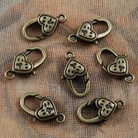 Zinklegierung Karabinerverschluss, antike Bronzefarbe plattiert, 11x20mm, Bohrung:ca. 1.5mm, 50PCs/Menge, verkauft von Menge