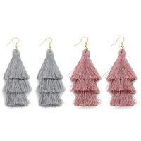 Polyester Troddel Ohrring, Eisen Haken, QuasteTroddel, für Frau, keine, 70mm, verkauft von Paar