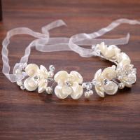 Zinklegierung Schweißband, mit ABS-Kunststoff-Perlen & Satinband & Acryl, silberfarben plattiert, für Braut & mit Strass, frei von Blei & Kadmium, 310x40mm, verkauft von PC