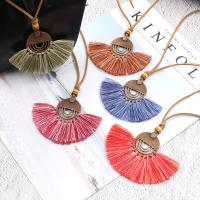 Zinklegierung Franse Halskette, mit Baumwollfaden & Baumwollsamt, QuasteTroddel, antike Kupferfarbe plattiert, für Frau, keine, frei von Nickel, Blei & Kadmium, verkauft per ca. 31 ZollInch Strang