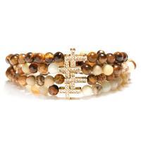 Edelstein Armband, mit Zinklegierung, Kreuz, goldfarben plattiert, verschiedenen Materialien für die Wahl & unisex & Micro pave Zirkonia, 6mm, verkauft per ca. 7.8 ZollInch Strang