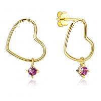 925 Sterling Silber Tropfen Ohrring, mit CRYSTALLIZED™, Herz, vergoldet, für Frau, 16x18mm, verkauft von Paar