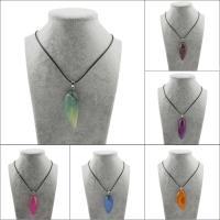 Streifen Achat Halskette, mit Messing Stiftöse & PU Schnur, mit Verlängerungskettchen von 50mm, Tropfen, unisex, keine, 24x51x21-24x60x22mm, verkauft per ca. 17.3 ZollInch Strang