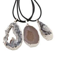 Eisquarz Achat Halskette, mit Messing Stiftöse & PU Schnur, mit Verlängerungskettchen von 50mm, unisex & verschiedene Stile für Wahl, 18x41x11-31x50x9mm, verkauft per ca. 17.3 ZollInch Strang