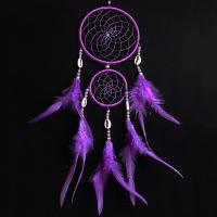 Fashion Dreamcatcher, Feder, mit Satinband & Kunststoff Perlen, violett, 500mm, verkauft von PC