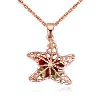 Messing Halskette, mit Österreichischer Kristall, Stern, plattiert, Oval-Kette & für Frau & facettierte & hohl, keine, frei von Blei & Kadmium, 22x29mm, verkauft per ca. 17.7 ZollInch Strang