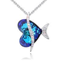 Messing Halskette, mit Österreichischer Kristall, Herz, platiniert, Oval-Kette & für Frau & facettierte & mit Strass, frei von Blei & Kadmium, 21x26mm, verkauft per ca. 17.7 ZollInch Strang
