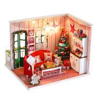 Holz mit Stoff & Kunststoff, Haus, plattiert, DIY & Weihnachtsschmuck, 240x205x175mm, verkauft von PC