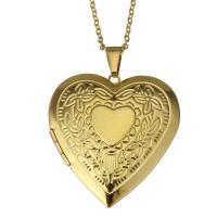 Mode Medaillon Halskette, Edelstahl, mit Verlängerungskettchen von 2Inch, Herz, goldfarben plattiert, Oval-Kette & für Frau, 40x43mm, 2mm, Innendurchmesser:ca. 30x26mm, verkauft per ca. 17 ZollInch Strang