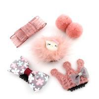 Caddice Haar-Schmuck-Set, Haarspange, mit Ripsband & Baumwollsamt & Eisen & Acryl, für Kinder, 33x20x18mm-43x35x18mm, 5PCs/Tasche, verkauft von Tasche