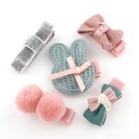 Caddice Haar-Schmuck-Set, Haarspange, mit Satinband & Baumwollsamt & Eisen, für Kinder, Rosa, 37x16x14mm-36x46x11mm, 5PCs/Tasche, verkauft von Tasche