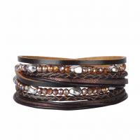 Rindsleder Armband, Kuhhaut, mit PU Leder & Kristall & Zinklegierung, Platinfarbe platiniert, für Frau & facettierte & mit Strass & 2 strängig, keine, 17mm, verkauft per ca. 15.3 ZollInch Strang