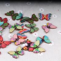 Holz Zweilochknöpfe, Schmetterling, gemischte Farben, 28x20x2mm, 50PCs/Menge, verkauft von Menge
