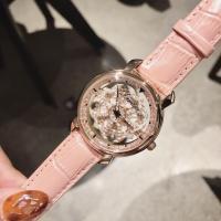 DIMINI® Uhrenkollektion, Leder, mit Stahl & Glas & Messing, flache Runde, plattiert, für Frau & mit Strass, keine, 40x14mm, Länge:ca. 8.6 ZollInch, verkauft von PC