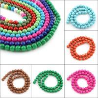 Synthetische Türkis Perle, rund, verschiedene Größen vorhanden, keine, Bohrung:ca. 1mm, Länge:ca. 15.5 ZollInch, 50SträngeStrang/Tasche, verkauft von Tasche