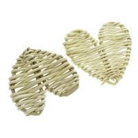 Rohrstock Kostüm Zubehör, flacher Herz, handgefertigt & gewebte Muster, 52x54x7mm-55x56x7mm, 50PCs/Tasche, verkauft von Tasche