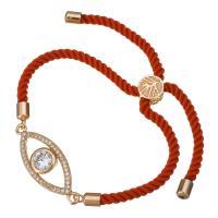 Nylonschnur Armband, mit Messing, Pferdeauge, Rósegold-Farbe plattiert, unisex & einstellbar & mit kubischem Zirkonia, 31x12mm, 3mm, verkauft per ca. 6-8 ZollInch Strang