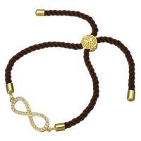 Nylonschnur Armband, mit Messing, Unendliche, goldfarben plattiert, unisex & einstellbar & Micro pave Zirkonia, 29x9mm, 3mm, verkauft per ca. 6-8 ZollInch Strang
