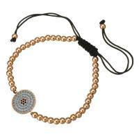 Nylonschnur Woven Ball Armband, mit Messing, flache Runde, Rósegold-Farbe plattiert, unisex & einstellbar & Micro pave Zirkonia, 19x15mm, 4mm, verkauft per ca. 6-10 ZollInch Strang