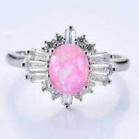 Messing Fingerring, mit Opal, platiniert, verschiedene Größen vorhanden & für Frau & mit Strass, keine, frei von Nickel, Blei & Kadmium, verkauft von PC