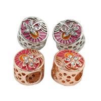 Zink Legierung Europa Perlen, Zinklegierung, Zylinder, plattiert, ohne troll & Emaille & mit Strass, keine, frei von Blei & Kadmium, 12x10mm, Bohrung:ca. 5mm, 5PCs/Tasche, verkauft von Tasche