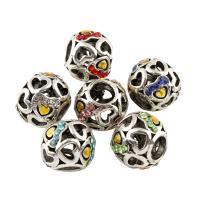 Zink Legierung Europa Perlen, Zinklegierung, Trommel, antik silberfarben plattiert, ohne troll & mit Strass, keine, frei von Blei & Kadmium, 10x12mm, Bohrung:ca. 5mm, 5PCs/Tasche, verkauft von Tasche