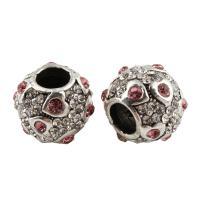 Zink Legierung Europa Perlen, Zinklegierung, Trommel, Platinfarbe platiniert, ohne troll & mit Strass, frei von Blei & Kadmium, 10x12mm, Bohrung:ca. 5mm, 5PCs/Tasche, verkauft von Tasche
