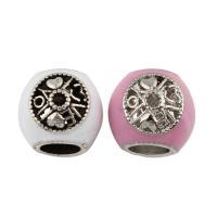 Zink Legierung Europa Perlen, Zinklegierung, Trommel, antik silberfarben plattiert, ohne troll & Emaille, keine, frei von Blei & Kadmium, 10x11mm, Bohrung:ca. 5mm, 5PCs/Tasche, verkauft von Tasche