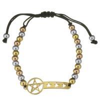 Edelstahl Woven Ball Armband, mit Nylonschnur, Pentagram, plattiert, unisex & einstellbar, 40x15mm, 6x4.5mm, verkauft per ca. 12 ZollInch Strang