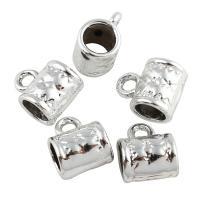 Zinklegierung Stiftöse Perlen, Zylinder, Platinfarbe platiniert, frei von Blei & Kadmium, 8x10x6.50mm, Bohrung:ca. 2-4mm, 20PCs/Tasche, verkauft von Tasche