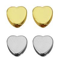 Messing Schmuckperlen, Herz, plattiert, keine, 5x5x2.50mm, Bohrung:ca. 1.5mm, 500PCs/Menge, verkauft von Menge