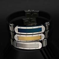 Titanstahl Armband, mit Silikon, plattiert, einstellbar & für den Menschen, keine, verkauft per ca. 8 ZollInch Strang