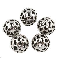 Zinklegierung hohle Perlen, rund, antik silberfarben plattiert, frei von Blei & Kadmium, 10mm, Bohrung:ca. 1.5mm, verkauft von PC