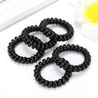 Telefon Draht Haar elastisch, Kunststoff, Kreisring, schwarz, 35mm, 10PCs/Menge, verkauft von Menge