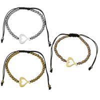 Edelstahl Woven Ball Armband, mit Nylonschnur, Herz, plattiert, einstellbar & für Frau, keine, 18x14mm, 3x4mm, verkauft per ca. 6-11 ZollInch Strang