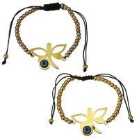 Edelstahl Woven Ball Armband, mit Nylonschnur & Harz, Libelle, plattiert, böser Blick- Muster & einstellbar & für Frau, keine, 30x22mm, 3x4mm, verkauft per ca. 6-11 ZollInch Strang