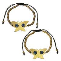 Edelstahl Woven Ball Armband, mit Nylonschnur & Harz, Schmetterling, plattiert, böser Blick- Muster & einstellbar & für Frau, keine, 30x20mm, 3x4mm, verkauft per ca. 6-11 ZollInch Strang