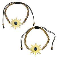 Edelstahl Woven Ball Armband, mit Nylonschnur & Harz, Blume, plattiert, böser Blick- Muster & einstellbar & für Frau, keine, 30x24mm, 3x4mm, verkauft per ca. 6-11 ZollInch Strang