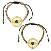 Edelstahl Woven Ball Armband, mit Nylonschnur & Harz, plattiert, böser Blick- Muster & einstellbar & für Frau, keine, 30x24mm, 3x4mm, verkauft per ca. 6-11 ZollInch Strang