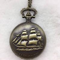 Mode Halskette Uhr, Zinklegierung, mit Glas, flache Runde, antike Bronzefarbe plattiert, unisex & Twist oval, frei von Nickel, Blei & Kadmium, 45x45mm, Länge:ca. 31.5 ZollInch, verkauft von PC