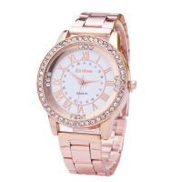 Damen Armbanduhr, Edelstahl, mit Glas, flache Runde, plattiert, für Frau & mit Strass, keine, 40x10mm, Länge:ca. 8.6 ZollInch, verkauft von PC