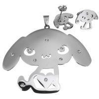 Edelstahl Schmucksets, Anhänger & Ohrring, Hund, für Frau & mit Strass, originale Farbe, 71x60mm, 17x13mm, Bohrung:ca. 5x8mm, verkauft von setzen