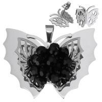 Edelstahl Mode Schmuckset, Anhänger & Ohrring, mit Kristall, Schmetterling, für Frau & facettierte, originale Farbe, 53x41mm, 15x12mm, Bohrung:ca. 5x8mm, verkauft von setzen