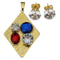 Edelstahl Mode Schmuckset, Anhänger & Ohrring, mit Kristall, Rhombus, goldfarben plattiert, für Frau & facettierte, 40x56mm, 9mm, Bohrung:ca. 5x8mm, verkauft von setzen