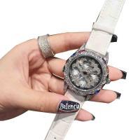 DIMINI® Uhrenkollektion, Leder, mit Glas & Zinklegierung, flache Runde, plattiert, für Frau & wasserdicht & mit Strass, keine, 38x12mm, Länge:ca. 8.6 ZollInch, verkauft von PC
