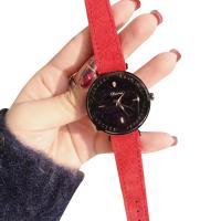 DIMINI® Uhrenkollektion, Leder, mit Glas & Zinklegierung, flache Runde, plattiert, Sternendesign & für Frau & wasserdicht & mit Strass, keine, 36x11mm, Länge:ca. 8.6 ZollInch, verkauft von PC