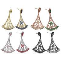Messing Tropfen Ohrringe, plattiert, ohne stopper & für Frau & mit kubischem Zirkonia, keine, 30x38.5x3mm, 50mm, 0.8mm, verkauft von Paar