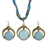 Zinklegierung Mode Schmuckset, Ohrring & Halskette, mit Nylonschnur & Glas-Rocailles, Eisen Haken, antike Bronzefarbe plattiert, für Frau, keine, 50x78mm, verkauft von setzen